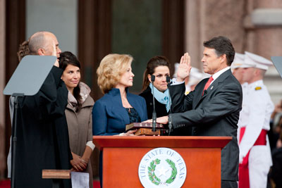 Governor Rick Perry sworn into third term.