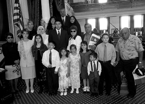 The family of firefighter Henry L. Martinez Sr. was on hand for Senate Resolution 581, by Houston Senator Mario Gallegos.  SR 581 honored the commitment to public service made by Martinez, who died on March 12, 2005
