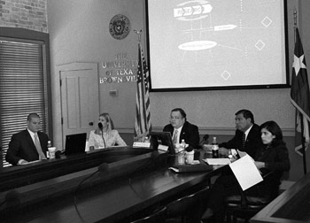 Senator John Carona and Eddie Lucio conducted a hearing for the Emerging Technologies and Economic Development Subcommittee last week at the University of Texas at Brownsville campus.  (Left to Right) Paul Reyes, Mary McMahan, Senator John Carona, Senator Eddie Lucio, and Perla Cavazos.