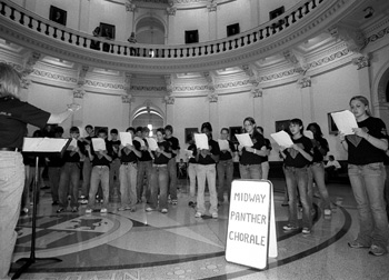 The Midway Panther Chorale traveled from Waco to fill the Rotunda with clear voices and beautiful music