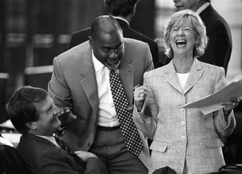Senator Mike Jackson (left), Senator Rodney Ellis, and Senator Florence Shapiro share a laugh